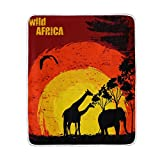 ALIREA Sunset In Wild Africa Super Soft Warm Blanket Lightweight Throw Blankets for Bed Couch Sofa Travelling Camping 60 x 50 Inch for Kids Boys Girls