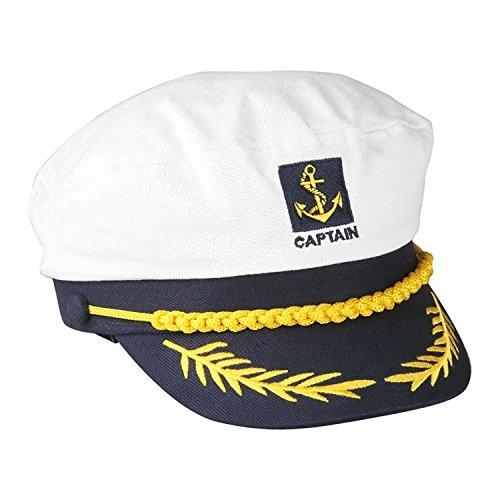 Sombrero de capitán de barco marinero azul marino con visera ajustable color blanco