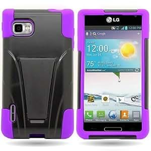 Kickstand Hard + Soft Dual Layer Hybrid Case for LG Optimus F3 Metro PCS / T-Mobile - Black Hard Purple...