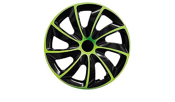PARA Dacia 15 pulgadas tapacubos/Tapacubos QUAD verde 15 negro black verde: Amazon.es: Coche y moto
