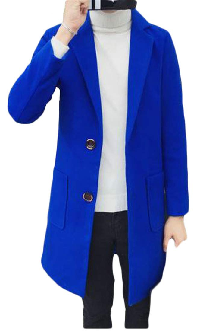 P&E Men Classic Two Button Pocket Overcoat Trench Wool Blend Coat Jacket Jewelry Blue XL