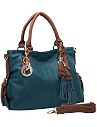 THALIA Top Handle Tassel Decor Hobo Style Tote Purse / Shoulderbag