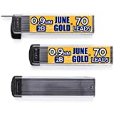 June Gold 210 Pieces, 0.9 mm 2B Lead Refills, 70 Pieces Per Tube, Bold Thickness, Break Resistant Lead/Graphite (Pack of 3 Dispensers)