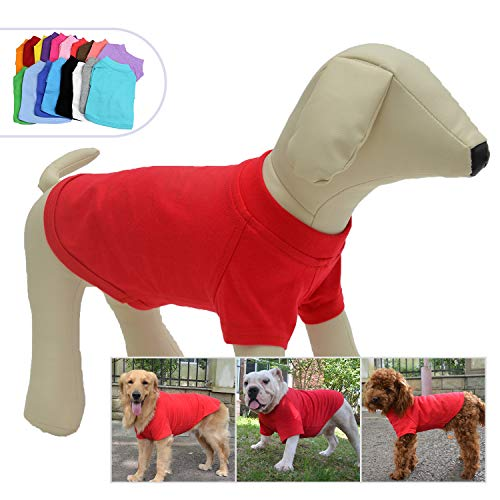 (Lovelonglong 2019 Pet Clothing Dog Costumes Basic Blank T-Shirt Tee Shirts for Small Dogs Red XS)