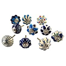 Set of 10 Blue and White Hand Painted Ceramic Pumpkin Knobs Cabinet Drawer Handles Pulls