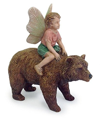 Bear Back Fairy Boy Miniature Fairy Garden Resin Figurine