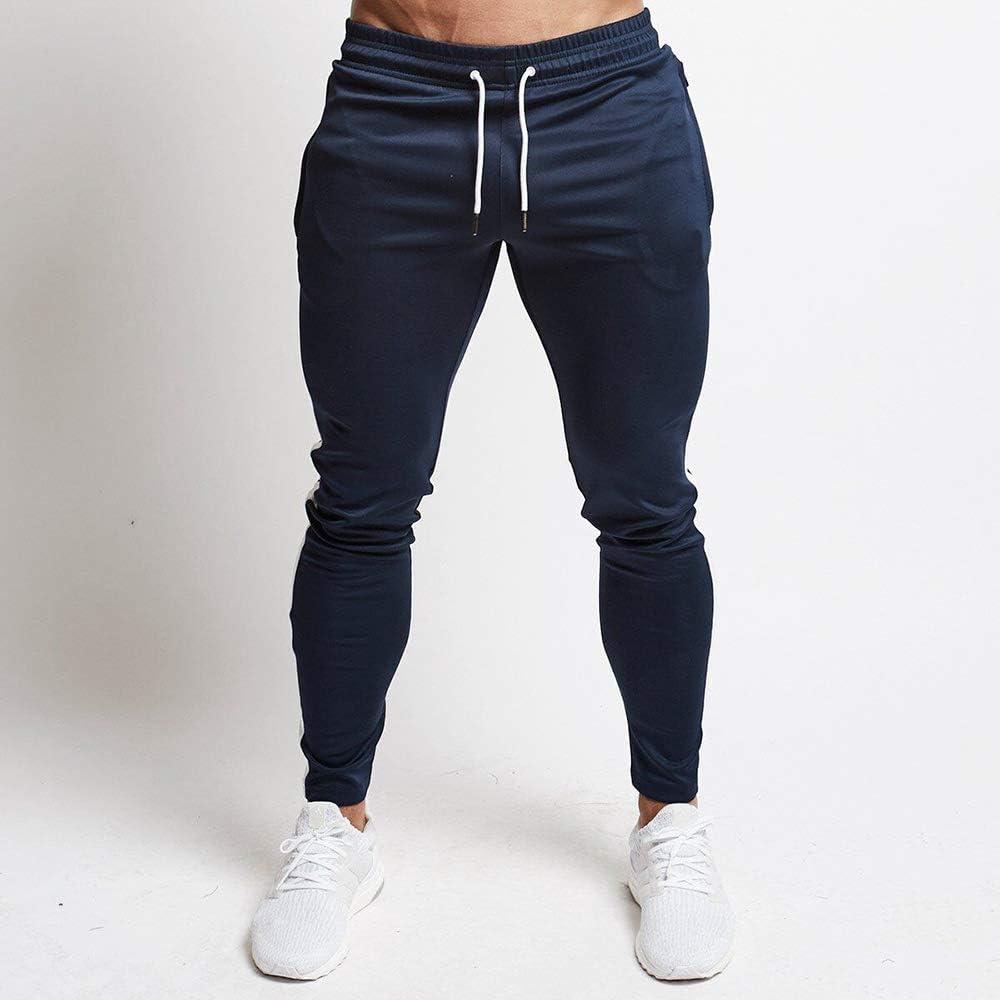 Huateng Pantalones de ch/ándal Hombres Fitness Culturismo Gimnasios Pantalones para Corredores Pantalones Deportivos