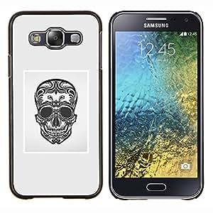 "Be-Star Único Patrón Plástico Duro Fundas Cover Cubre Hard Case Cover Para Samsung Galaxy E5 / SM-E500 ( Negro Blanco Gris Cráneo de la muerte floral"" )"