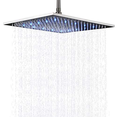 Senlesen Ceiling Mount Rainfall Large 16-inch Square Shower Head High Pressure Top Spray Without Shower Arm Brushed (Best Shower Head With Ceiling Mounts)