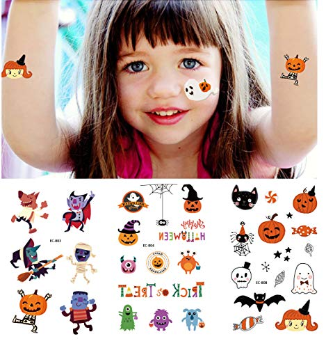 Intoy Kids Glitter Halloween Temporary Tattoos – 60 Styles in 6 Sheet Assorted Flash Tattoos for Children Treat or Trick – Best Halloween Party Favors and Holiday Costume Decorations
