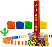 MENGDUO 80 Pcs Domino Train Blocks Rally Electric Toy Set, Train Model with Lights and Sounds Construction and Stacking Toys