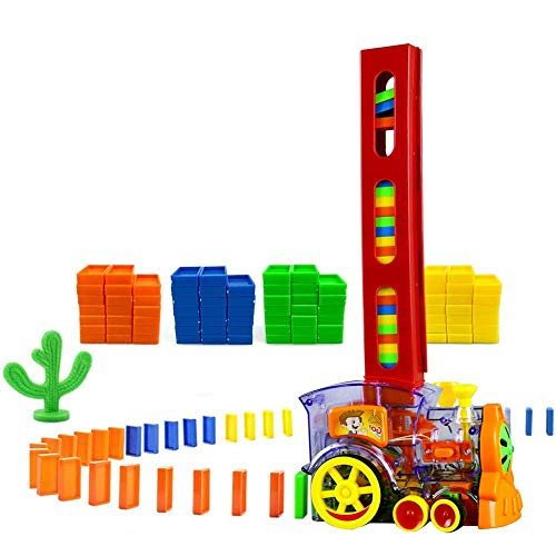 80 Pcs Domino Train Blocks Rally Electric Toy Set, Train Model with Lights and Sounds Construction and Stacking Toys…
