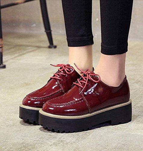 KHSKX-Rot 5 Cm Plus Vlies Die Koreanische Version Des Dicken Kiefer Kuchen Schuhe Kleine Schuhe Aus Leder Die Samt Studenten Retro Schuhe Runden Kopf Frauen Mit 35 Im Winter.
