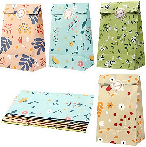 - Werrox 48pcs Floral Favor Bags Watercolor Flowers Paper Gift Bags, Goodie Candy Treat Bags with Thank You Stickers for Shower Tea Foral Decor | Model WDDNG -3920