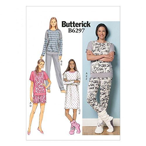 Butterick Ladies Easy Sewing Pattern 6297 Pyjama Tops, Shorts, Pants, Dress & Lounge Socks