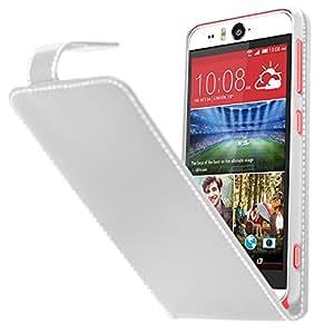 Samrick Specially Designed Leather Flip Case, Screen Protector, Microfibre Cloth, White High Capacitive Mini Stylus Pen for HTC Desire Eye - White