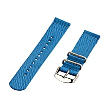 Clockwork Synergy - 18mm 2 Piece Classic Nato Ss Nylon Sailor Blue Replacement Watch Strap Band