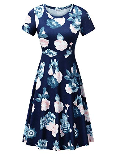 (HUHOT Women Cotton Vintage Summer Dresses Blue Flower Ladies Sundress Flower-23)