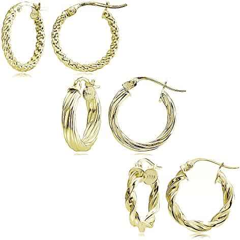 1e88a8f16 Sterling Silver Polished Twist Design 15mm Round Hoop Earrings, Set of 3