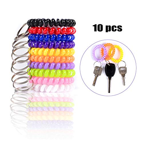 Spiral Key Chain Rings Coil Bracelet Holder Stretchy Wrist Key Chains for Office/Work/Sauna/Exercise and Outdoor Activities, Assorted Colors Suitable for Kids/Women/Men, Pack of 10pcs