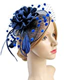 Fascinators with Veil Flower Cocktail Tea Party Easter Hats Derby Headwear for Women (A-Navy)