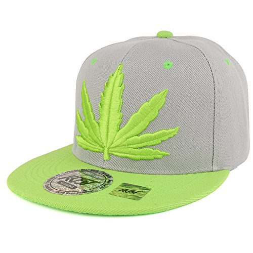 Marijuana-BIG-Green-Leaf-3D-Embroidered-Two-Tone-Flatbill-Snapback-Cap-GREYLIME