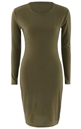 7c70e81d6899c BYWX Women Long Sleeve Pure Color Round Neck Bodycon Party Club Midi Dress  Army Green US