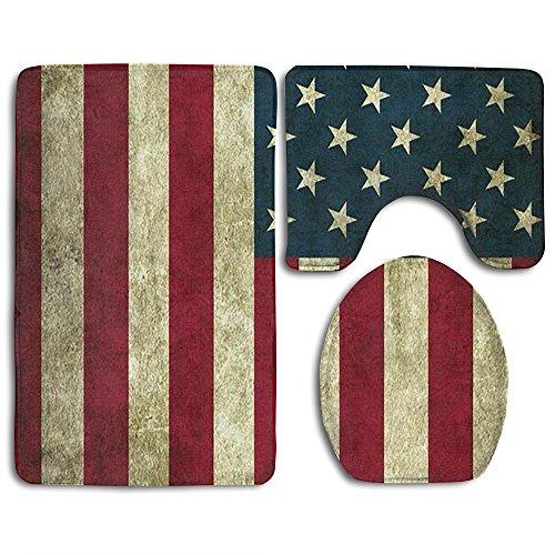Vintage American Flag Bath Mat Bathroom Carpet Rug Washable Non-Slip 3 Piece Bathroom Mat Set