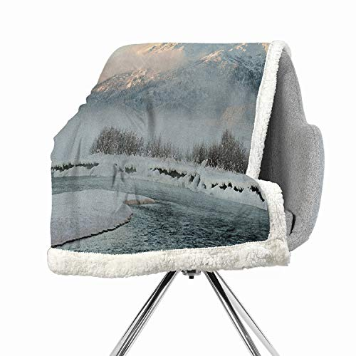 (BenmoHouse Alaska Berber Fleece Flannel Bed Blankets 60 by 47 Inch Cozy, All-Season Silver White Chilkat Valley Covered in Snow Winter Season Landscape Idyllic Scene from North)