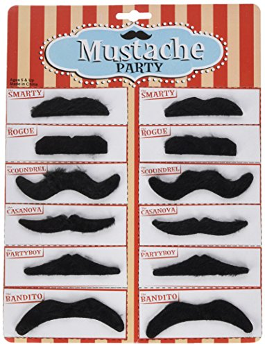 Rhode Island Novelty Black Mustache Party Pack, 12 - Island Confetti Party