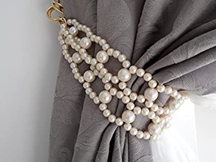 Rasmy Candles Acrylic Beaded Decorative Curtain Holder Tie Back with White Pearls (22 cm x 15 cm x 10 cm, Set of 2)