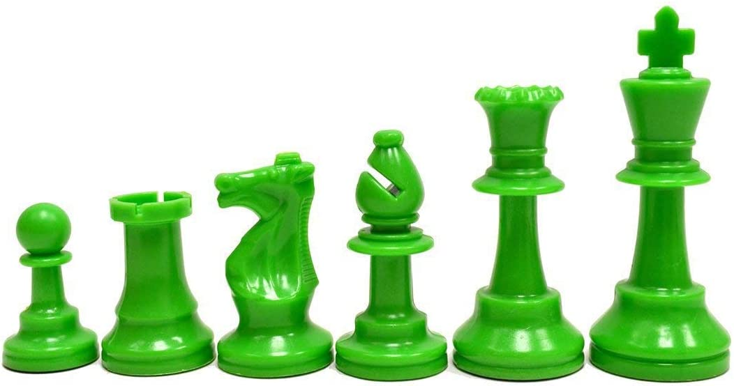 Regulation Colored Plastic Chessmen Neon Green