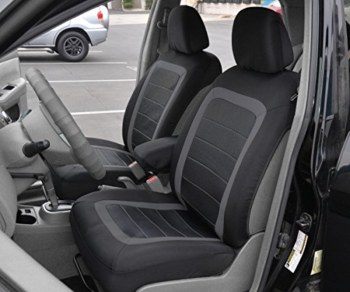 BDK Advanced Performance Car Seat Covers Heavy Duty Rubber Floor Mats BlackCharcoal Combo