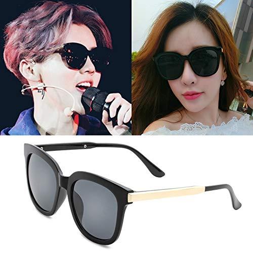 Sunglasses Tide Women Girls Star Style 2018 Arrival Women's Round Glasses Personalized Sunglasses Round face Korean Men Tide ([Glossy Black All Gray Cloth Main ] fig dichroic