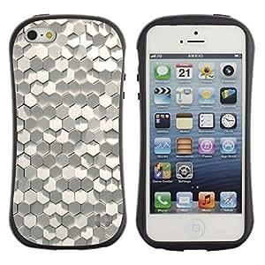 Fuerte Suave TPU GEL Caso Carcasa de Protección Funda para Apple Iphone 5 / 5S / Business Style Hexagon Material Modern Art Paper