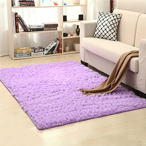 LOCHAS Soft Indoor Modern Area Rugs Fluffy Living Room Carpets Suitable for Children Bedroom Decor Nursery Rugs 4 Feet by 5.3 Feet (Purple) (Little Children Rug)