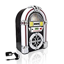 Pyle Audio Bluetooth Jukebox MP3 Speaker Player Led Lighting, AM/FM Radio, USB/SD Readers with Aux Input