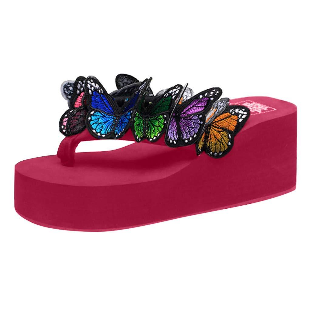 Women's Shoes for Women SYHKS Women Girls Butterfly Floral Wedges Flip Flops Sandals Slippers Beach Sandles for Women(Red,41)