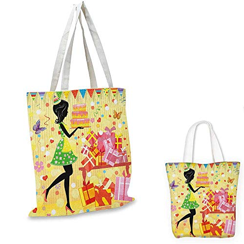 Birthday non woven shopping bag Beautiful Young Woman and Birthday Cake Table Full of Presents Butterfly Figure fruit shopping bag Multicolor. 16