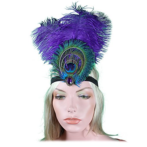 Peacock Costume Headband (Purple Peacock Feather 1920s Flapper Headband 20s Great Gatsby Headpiece Gatsby Hair Accessories Rhinestones Crystals)