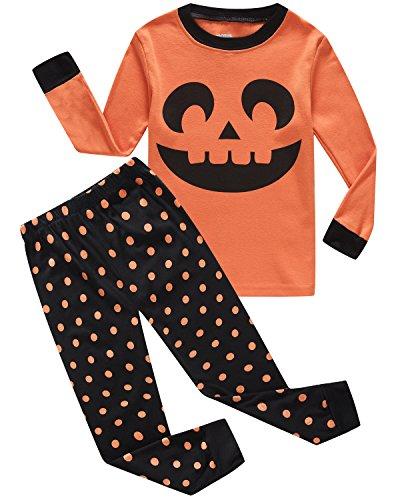 Little Pajamas Girls Pumpkin Halloween Costumes 100% Cotton Toddler Clothes Kids Sleepwear Size 5T