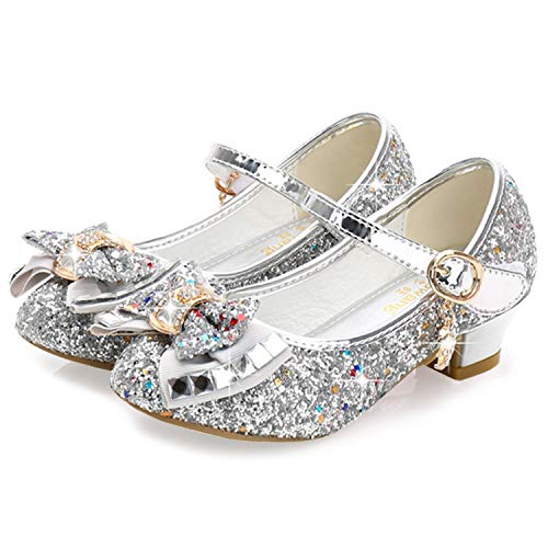 Waloka Sliver Mary Jane Glitter Shoes Girls Size High Heel Party Little Kid Girl Dress Shoes High Heels 11 Yr Teen Flower Big Girl Sequins Princess Wedding Prom Bridesmaid (Sliver 35) ()