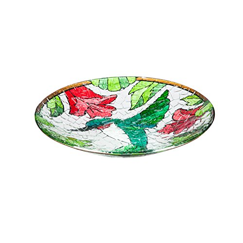 Evergreen Hummingbird Crushed Glass Bird Bath Bowl (Pattern Pedestal Bowl)