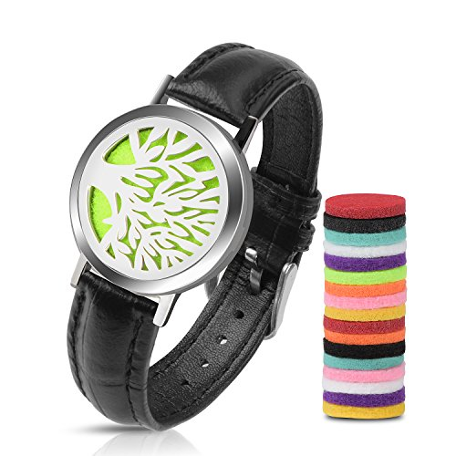 Essential Oil Diffuser Leather Wrap Bracelet Set, Stainless Steel Tree of Life Aromatherapy Locket Bracelet for Women and Men with 18pcs Refill Pads(Black)