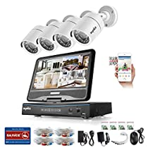 SANNCE 4 Channel 720P DVR Security Camera System with Build-in 10.1 LCD Monitor and (4) 1.0MP 1280TVL Weatherproof Outdoor CCTV Bullet Cameras, Support P2P Technology and Remote Access (NO HDD)