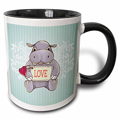 3dRose 3dRose Cute Hippopotamus Holding Love Sign With Heart With Blue Striped Background Valentine Or Any Day - Two Tone Black Mug, 11oz (mug_119045_4), , Black/White (White Mugs And Blue Coffee Striped)