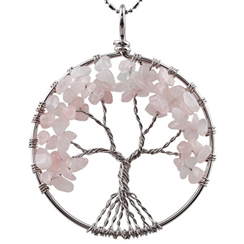 SUNYIK Rose Quartz Eternal Tree of Life Pendant Tumbled Stones Healing