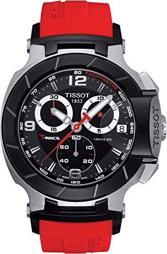 (Tissot Men's T0484172705701 T-Race Two-Tone Stainless Steel Watch with Red Rubber Band)