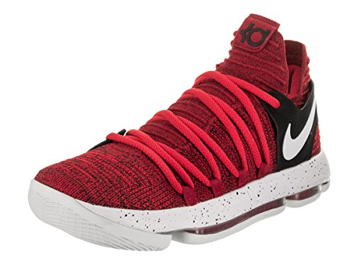 NIKE Mens Zoom KD 10 University Red/Pure Platinum Basketball Shoe 9 Men US