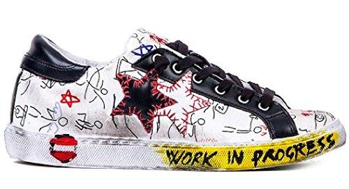 2 Star-Sneaker Low Fantasia-Bianco-Nero/COD: 2SU1812/UOMO multicolore
